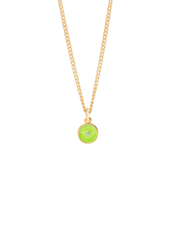 Tilly Sveaas Lime Green Enamel Disc On Fine Curb Chain