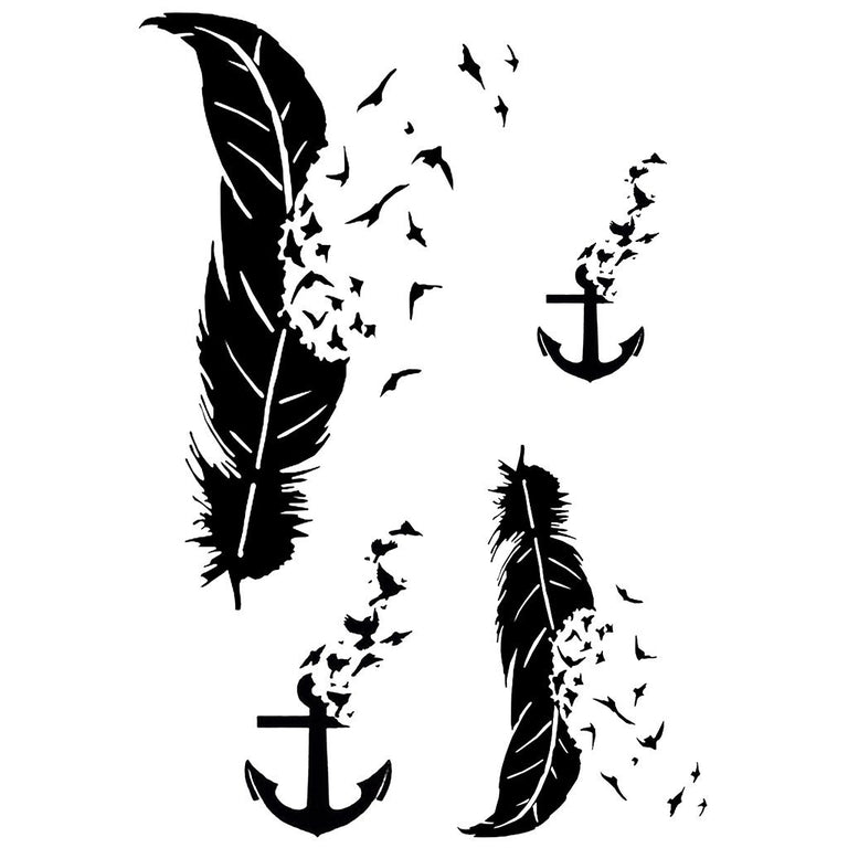 Black Anchor, Feathers & Birds - Pack - ArtWear Tattoo