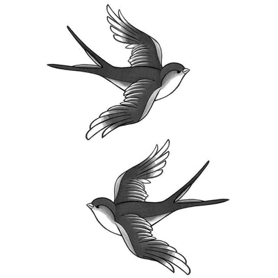 Double Swallow B&W - ArtWear Tattoo