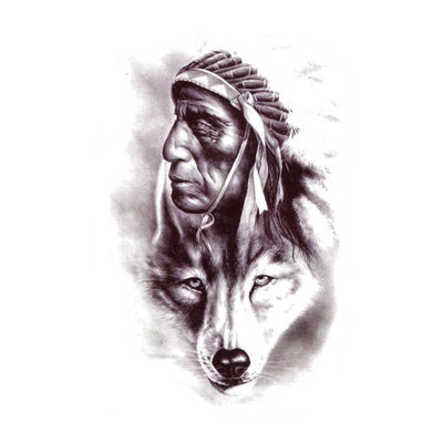 Tatouage éphémère : Indian Wolf - ArtWear Tattoo France - Tatouage temporaire