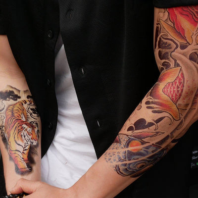 Tatouage éphémère : Koi & Dragon Sleeve - ArtWear Tattoo France - Tatouage temporaire