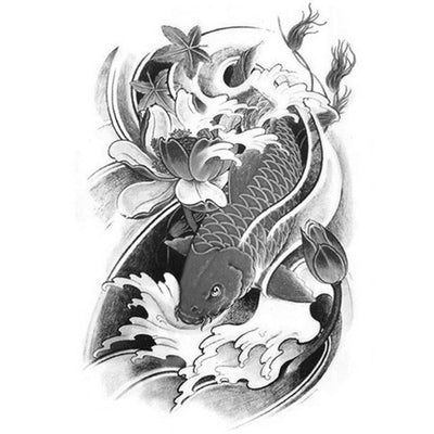 Koi Fish - B&W 4 - ArtWear Tattoo