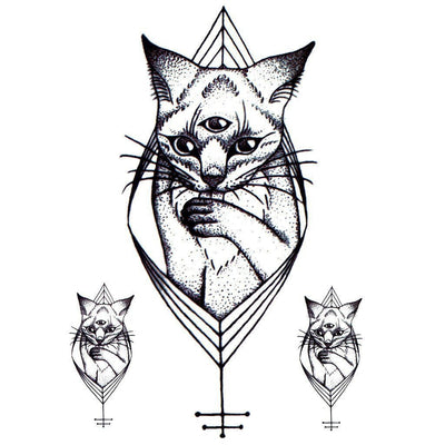 Tatouage éphémère : Three Eyed Cat - ArtWear Tattoo - Tatouage temporaire