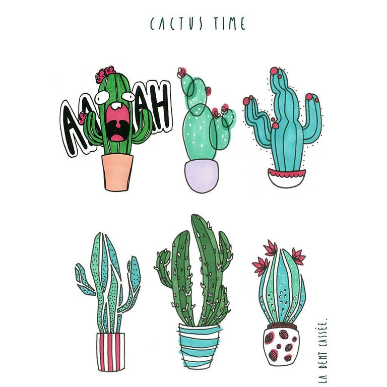 Tatouage éphémère : Cactus Time - by La dent cassée - ArtWear Tattoo France - Tatouage temporaire