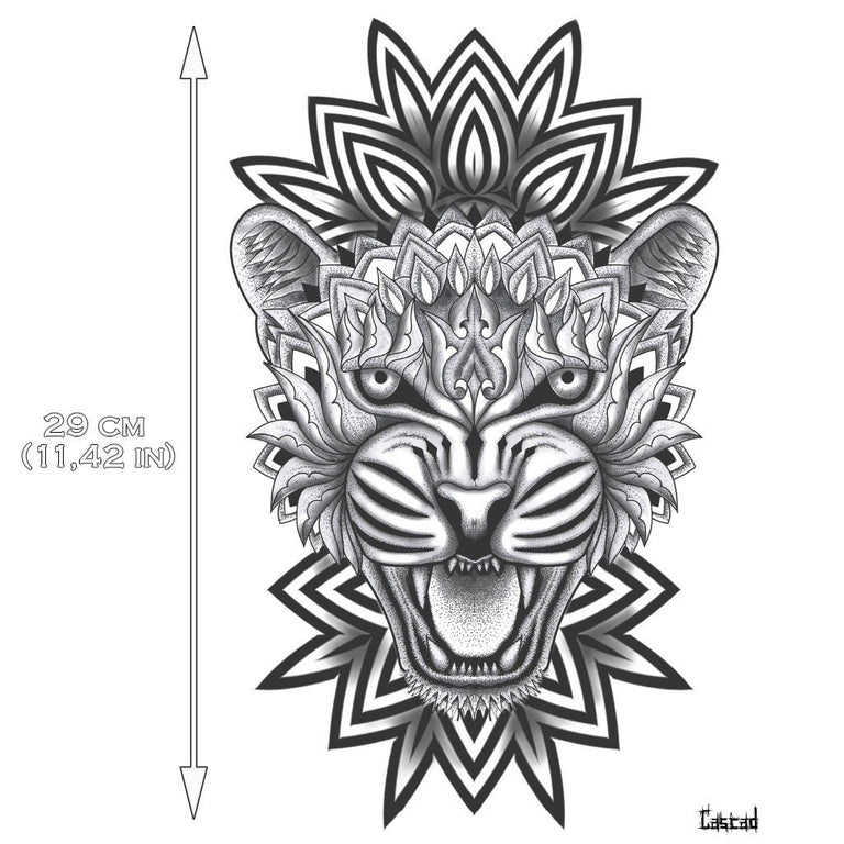 Tatouage éphémère : Large Tiger Mandala - by CASCAD - ArtWear Tattoo France - Tatouage temporaire