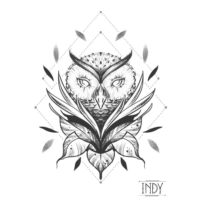 Tatouage éphémère : The Owl - by Indy - ArtWear Tattoo - Tatouage temporaire
