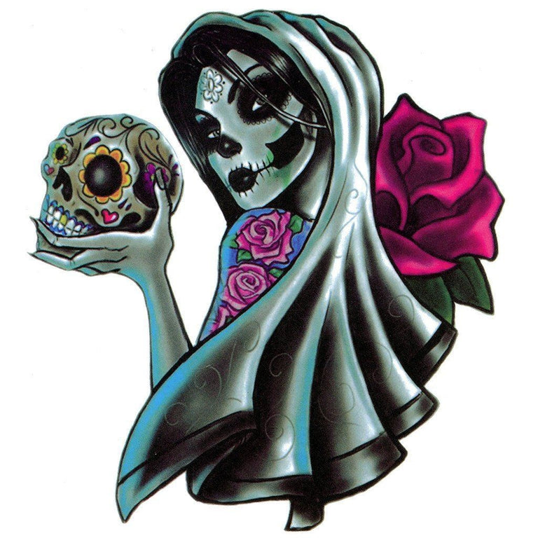 Tatouage éphémère : Big Santa Muerte & The Rose - ArtWear Tattoo France - Tatouage temporaire