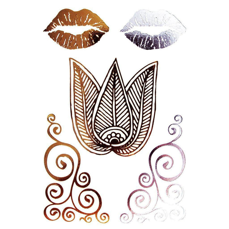 Tatouage éphémère : Kiss & Lotus Metallic Gold - ArtWear Tattoo - Tatouage temporaire
