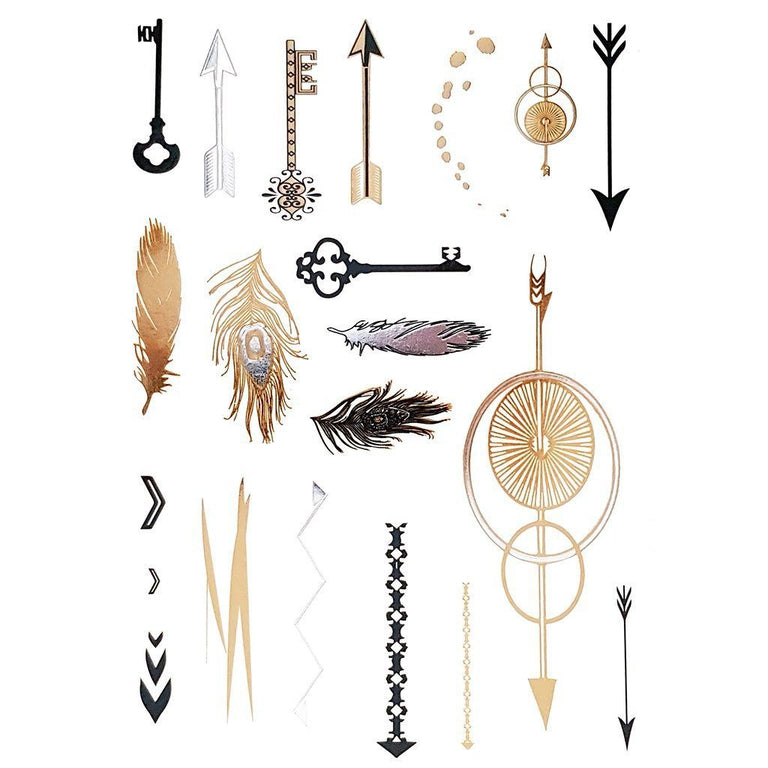 Metallic Gold Arrows & Feathers - ArtWear Tattoo