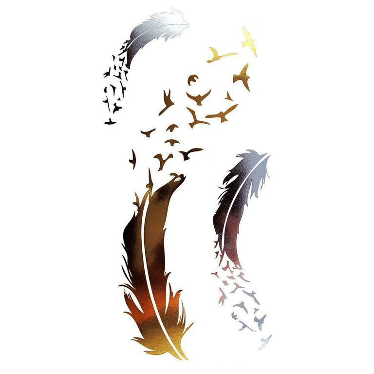Metallic Gold Feather - Pack 33 - ArtWear Tattoo