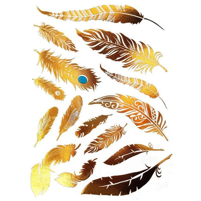 Tatouage éphémère : Metallic Gold Feather - Pack 35 - ArtWear Tattoo - Tatouage temporaire