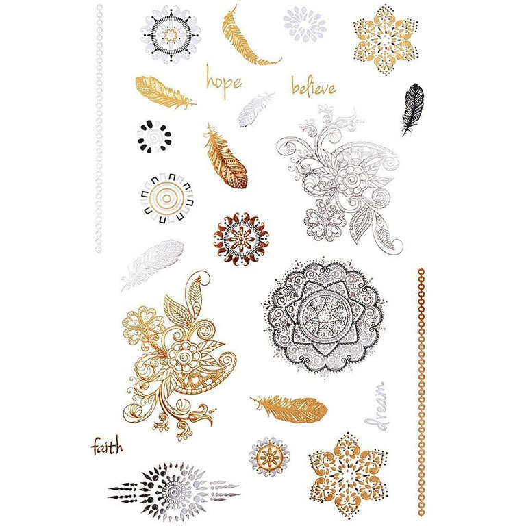 Metallic Gold Mandalas & Feathers - Pack