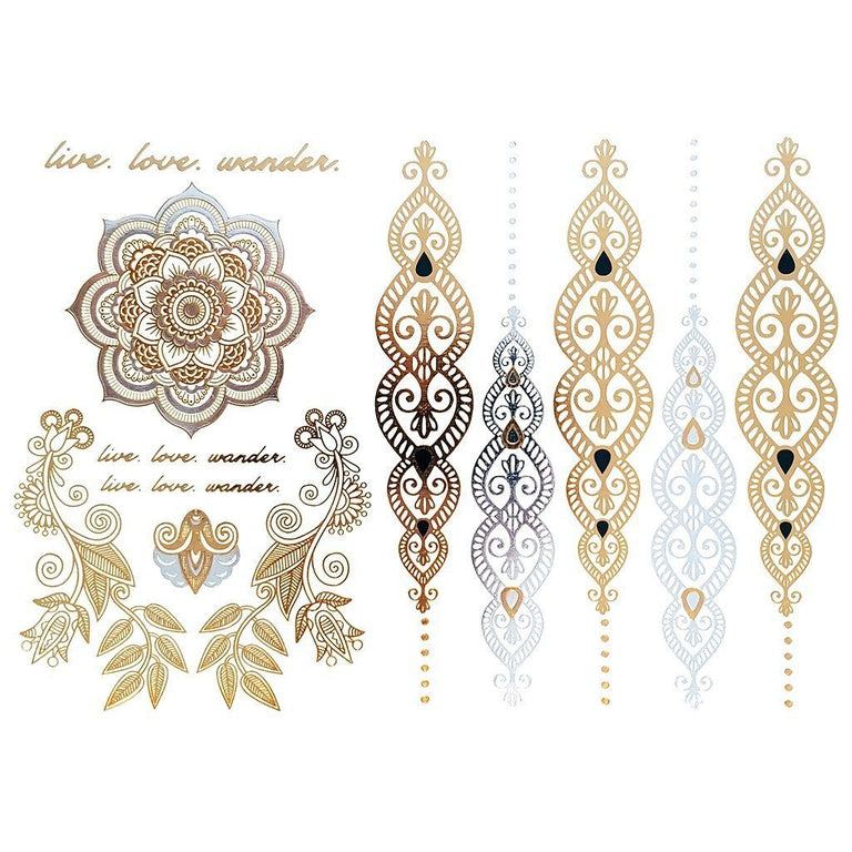 Metallic Gold Ornaments 3 - Pack - ArtWear Tattoo