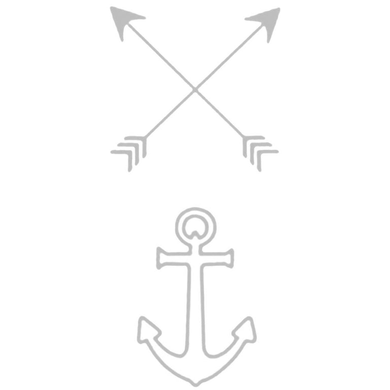 Tatouage éphémère : Silver Arrow & Anchor - Pack - ArtWear Tattoo - Tatouage temporaire