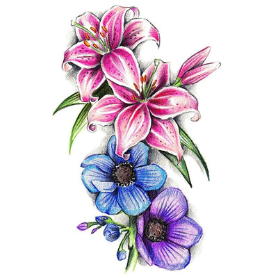 Tatouage éphémère : Colored Lily Flowers - ArtWear Tattoo France - Tatouage temporaire