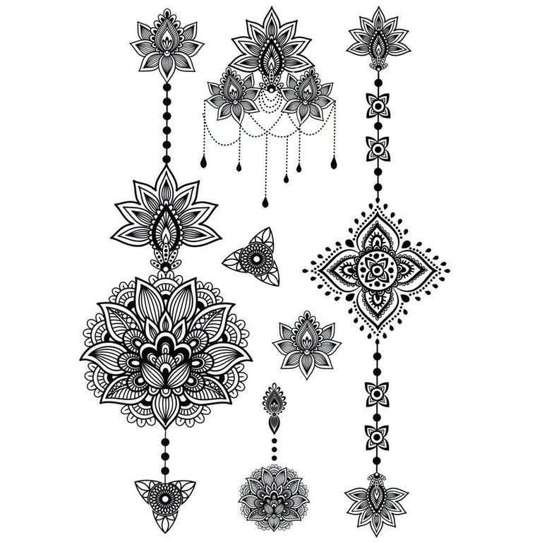 Tatouage éphémère : Lotus Jewels - Pack - ArtWear Tattoo France - Tatouage temporaire