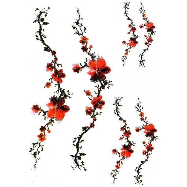 Red Flowers Branch - ArtWear Tattoo
