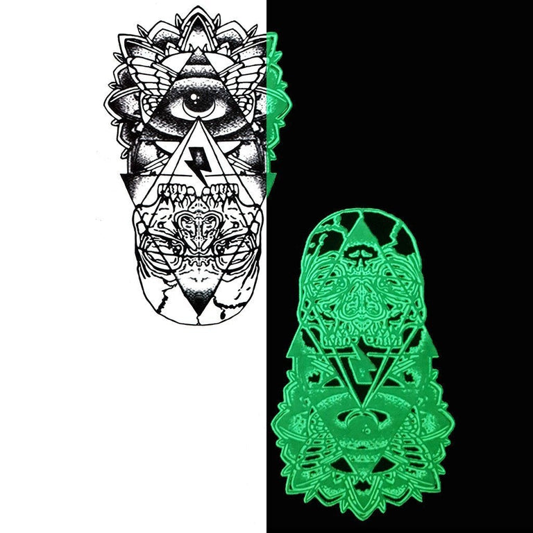 Tatouage éphémère : Glow in the Dark Eye Totem - Pack - ArtWear Tattoo France - Tatouage temporaire
