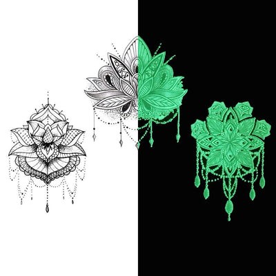 "Tatouage éphémère : Glow in the Dark ""The 3 Lotus"" - Pack - ArtWear Tattoo - Tatouage temporaire"
