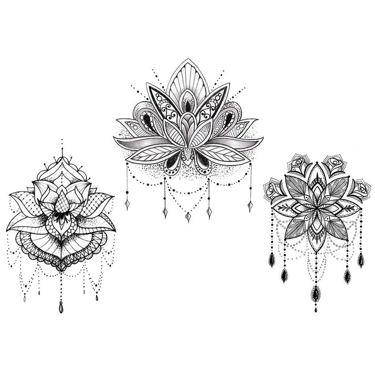 "Tatouage éphémère : Glow in the Dark ""The 3 Lotus"" - Pack - ArtWear Tattoo France - Tatouage temporaire"