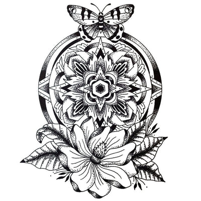 Dotwork Mandala Flower & Butterfly - ArtWear Tattoo