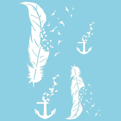 Tatouage éphémère : White Collection - Anchor, Feathers & Birds - Pack - ArtWear Tattoo - Tatouage temporaire