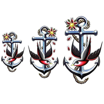 Tatouage éphémère : Anchor & Swallow - Pack - ArtWear Tattoo - Tatouage temporaire