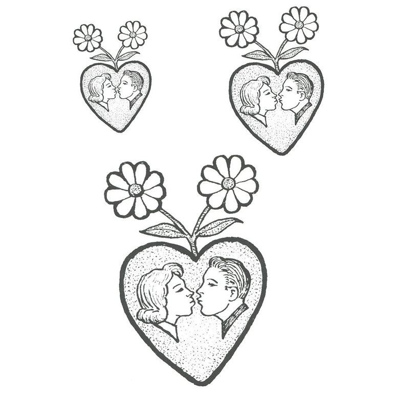 Tatouage éphémère : Couple in a Heart - ArtWear Tattoo France - Tatouage temporaire