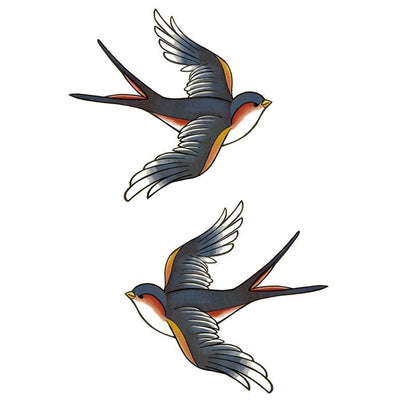 Double Swallow Color - ArtWear Tattoo