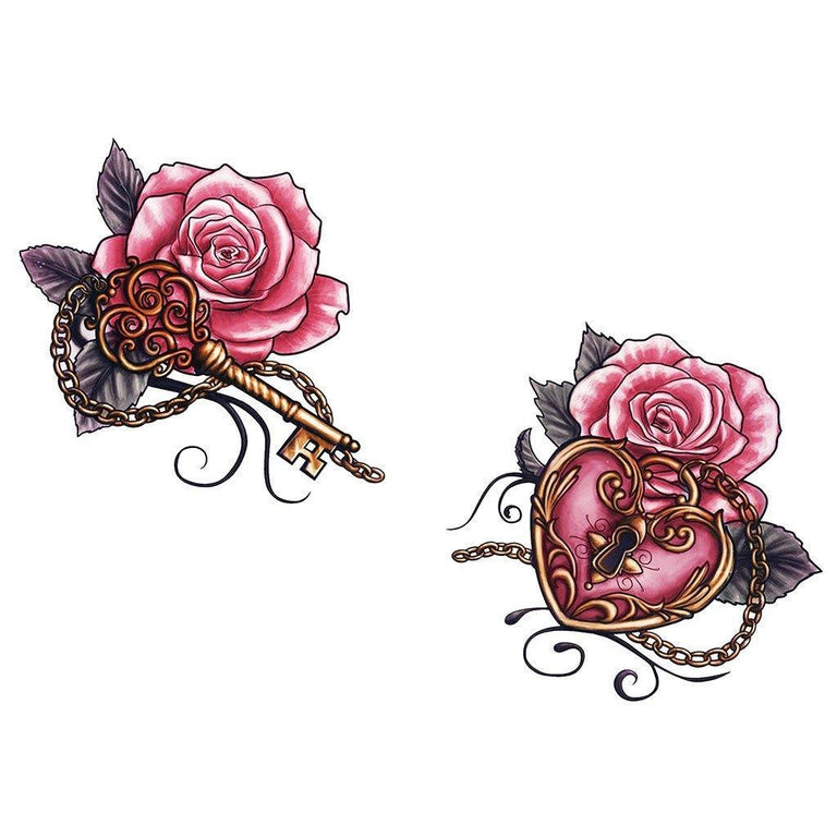Heart Key Roses - ArtWear Tattoo