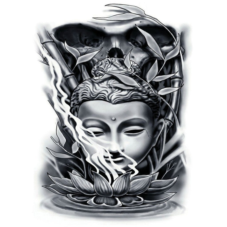 Black Buddha & Lotus - ArtWear Tattoo