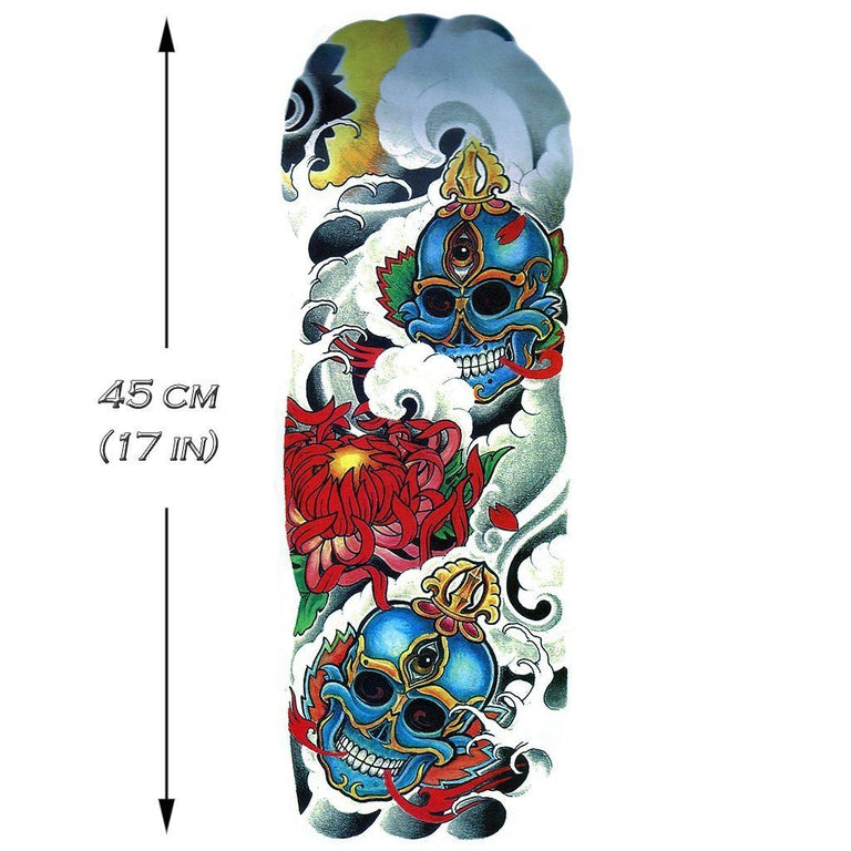 Tatouage éphémère : Colorful Skull Sleeve - ArtWear Tattoo - Tatouage temporaire