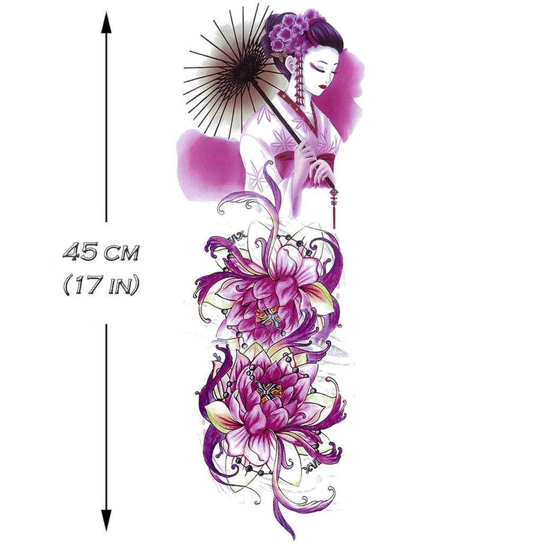 Tatouage éphémère : Purple Lotus & Geisha Sleeve - ArtWear Tattoo - Tatouage temporaire