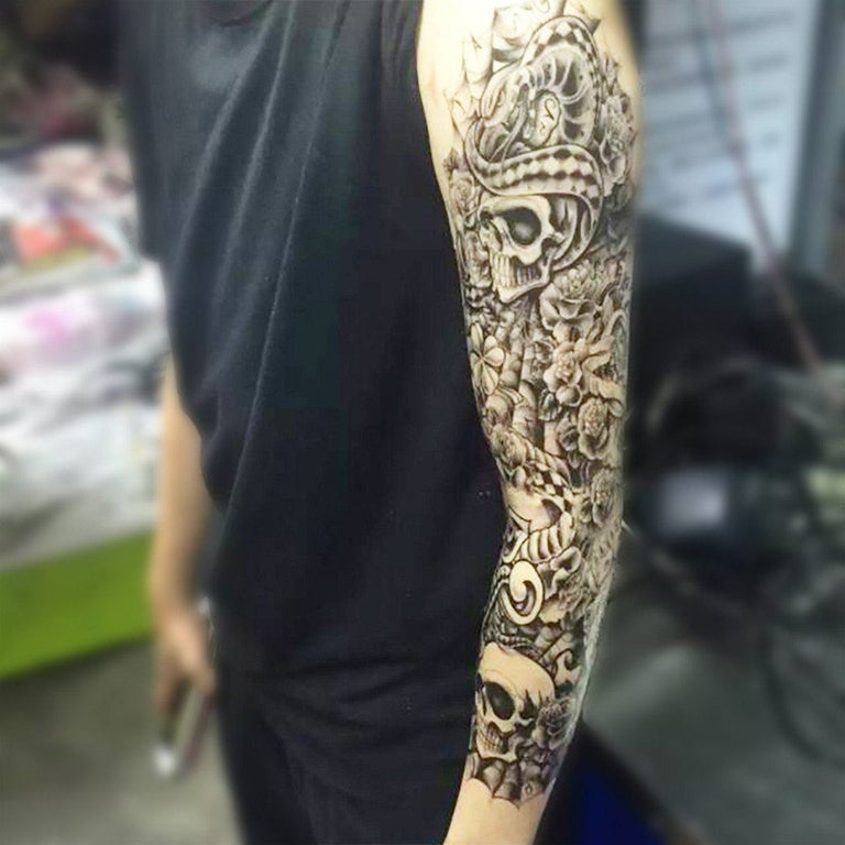 B&W Skulls Sleeve 1 - ArtWear Tattoo