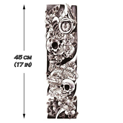 Tatouage éphémère : B&W Skulls Sleeve 2 - ArtWear Tattoo France - Tatouage temporaire