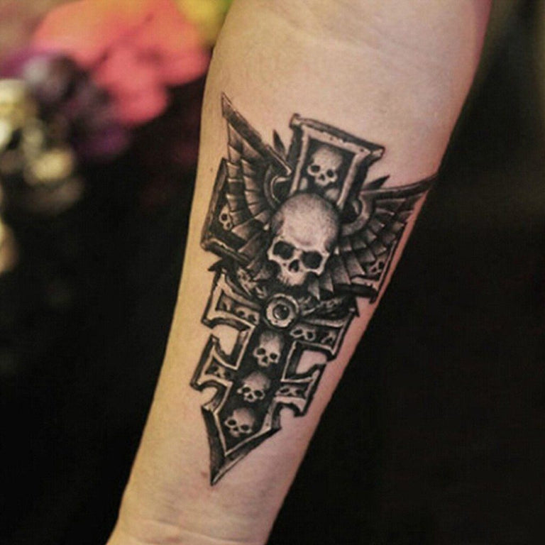 Tatouage éphémère : Cross Skull - ArtWear Tattoo France - Tatouage temporaire