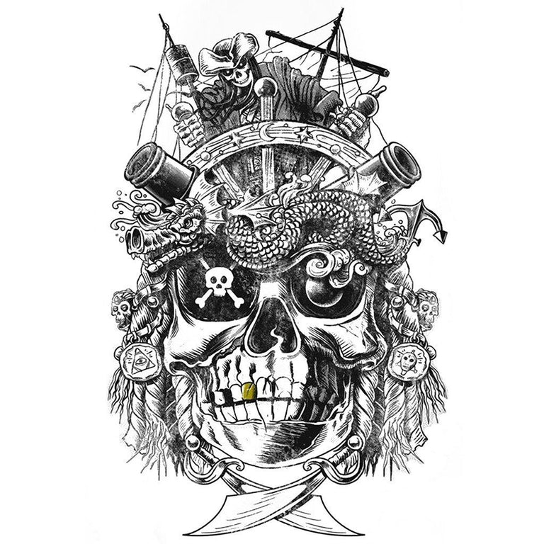 Tatouage éphémère : Golden Teeth Pirate - ArtWear Tattoo France - Tatouage temporaire