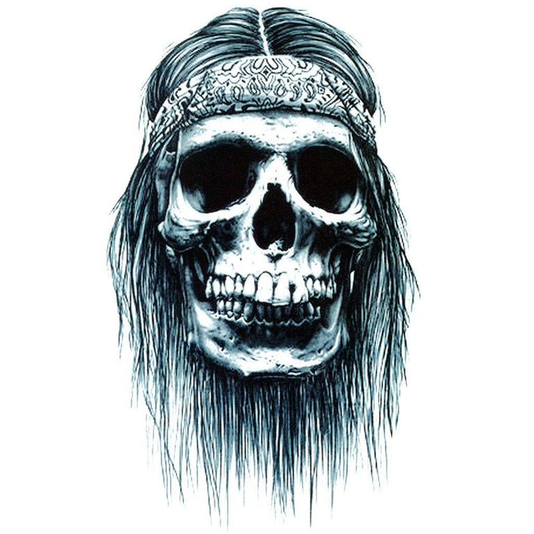 Tatouage éphémère : Long Hair Skull - ArtWear Tattoo - Tatouage temporaire