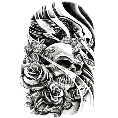 Skull Roses & Bird - ArtWear Tattoo
