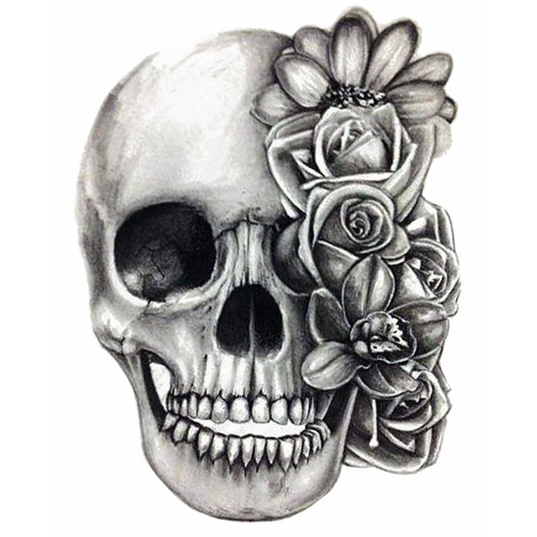 Skull & Roses Monochrome - ArtWear Tattoo