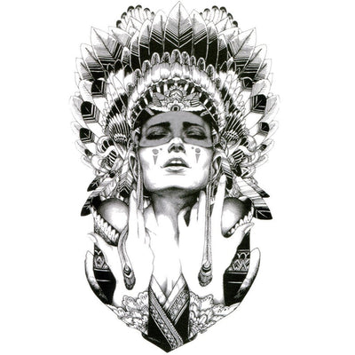 Tatouage éphémère : American Indian Girl 2 - B&W - ArtWear Tattoo France - Tatouage temporaire