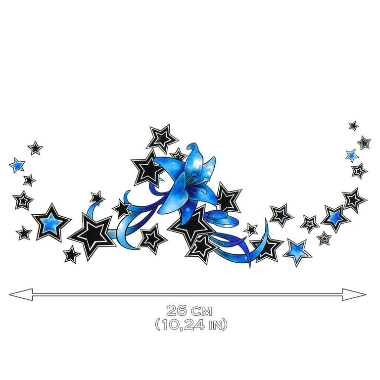 Tatouage éphémère : Blue Stars Underboob - ArtWear Tattoo France - Tatouage temporaire