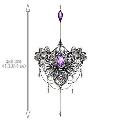 Purple Jewel Mandala Underboob - ArtWear Tattoo