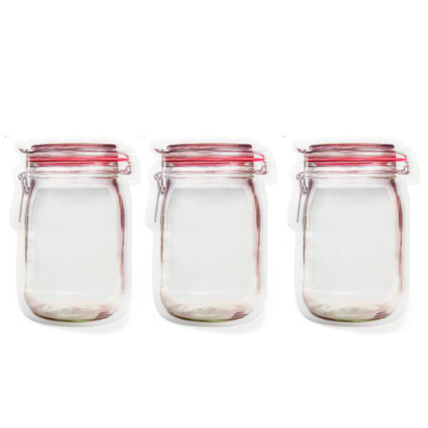 3pcs Mason Jar Zipper Bags
