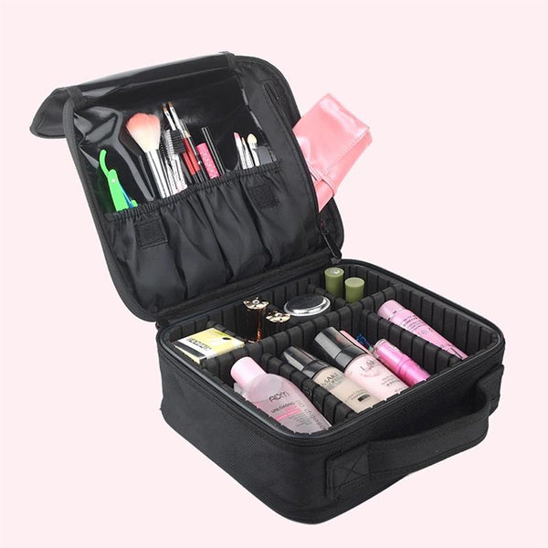 Portable Travel Cosmetic Bag with Adjustable Dividers