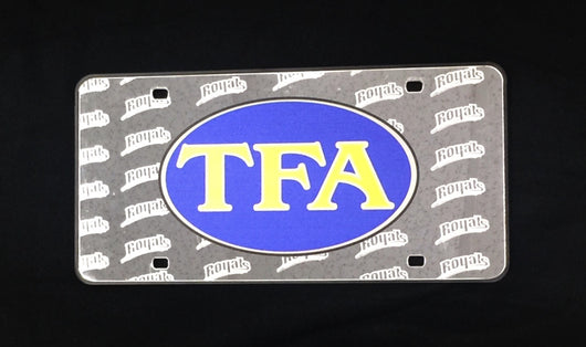 License Plate TFA Logo Etched