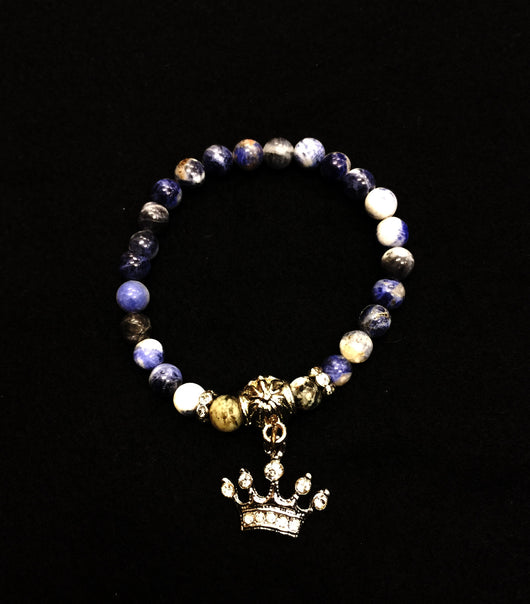 Bracelet  Blue Denim with Crown