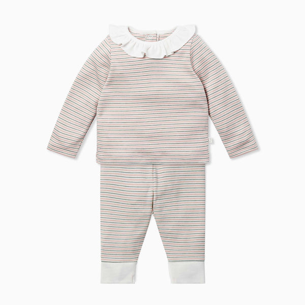 Blush & Khaki Stripe Ruffle Tee & Leggings Set