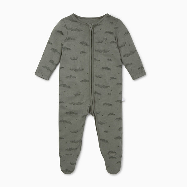 Khaki Cloud Stripe Zip-Up Sleep & Play One-Piece