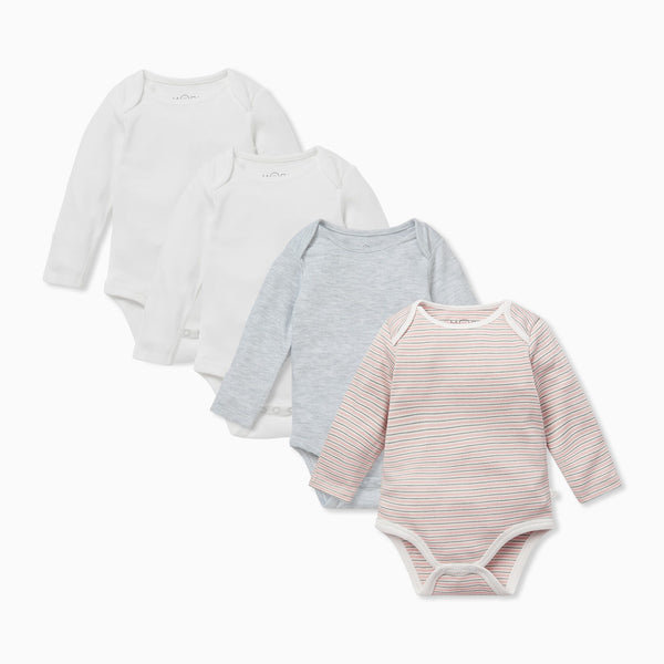 Blush & Khaki Stripe Long Sleeve Bodysuit 4 Pack